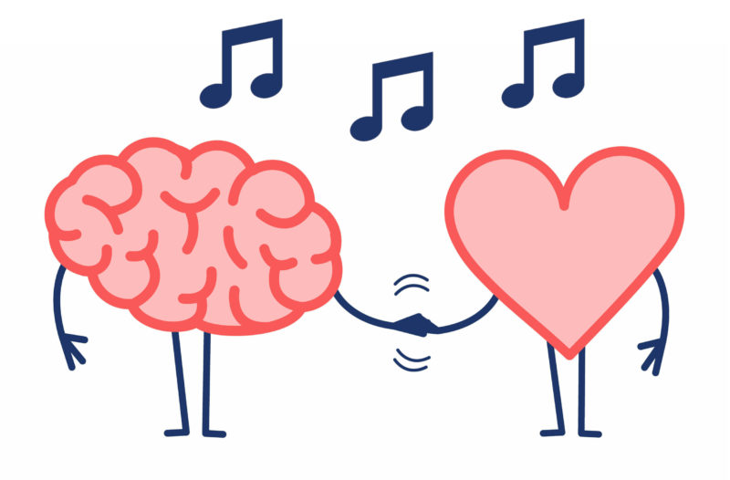 The image shows a cartoon heart and brain holding hands with musical notes floating above them.